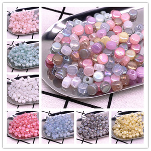 50pcs 8x5mm Round Flat Charms Acrylic Beads Loose Spacer Beads for Jewelry Makeing DIY Handmade Bracelet Accessories