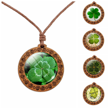 Shamrock Lucky Clover Wood Necklace Wooden Pendant Four Leaf Necklaces Handmade Glass Cabochon Jewelry Women Gift