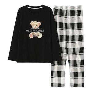 Image 5 - גדול גודל M 5XL נשים פיג מה סטי Nightwear רך סתיו חורף ארוך שרוול פיג Cartoon הדפסת הלבשת נקבה פיג מות Muje