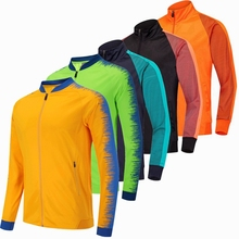 купить Running Jacket Men Breathable Coat Outdoor Sports Hiking Soccer Training Jersey Jacket Training Gym Football Zipper Jackets дешево