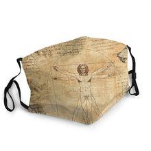 Respirator Face-Mask Mouth Vintage-Pattern Reusable Leonardo Vinci Muffle Dustproof-Protection-Cover