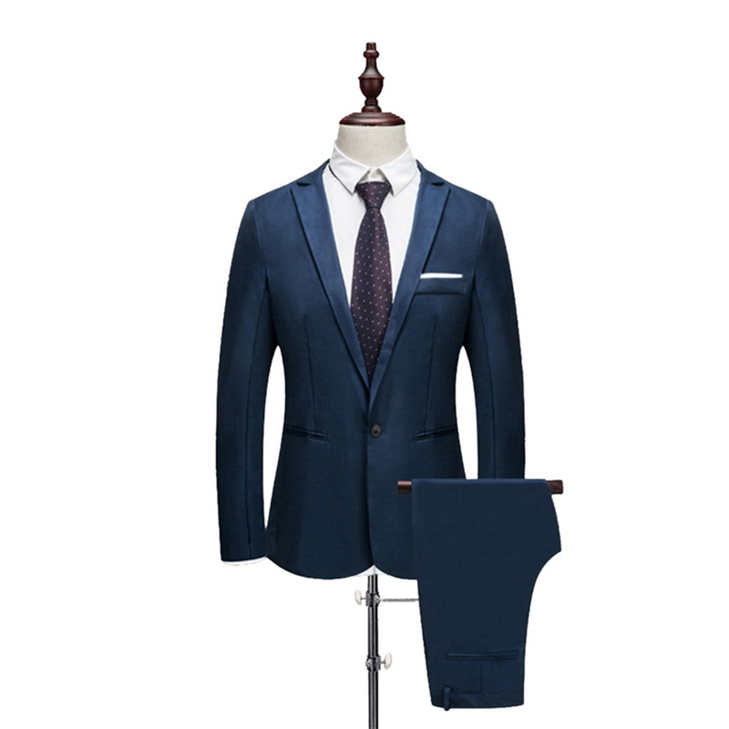 Men Clothing Set Mens Slim Set Solid Color Suit 2020 Fashion Suits Thin Men Wedding Suit Spring Autumn(Jacket+ Pant)