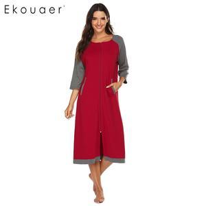 Image 3 - Ekouaer женский халат на молнии, длинный халат с полурукавами и круглым вырезом, халат для сна
