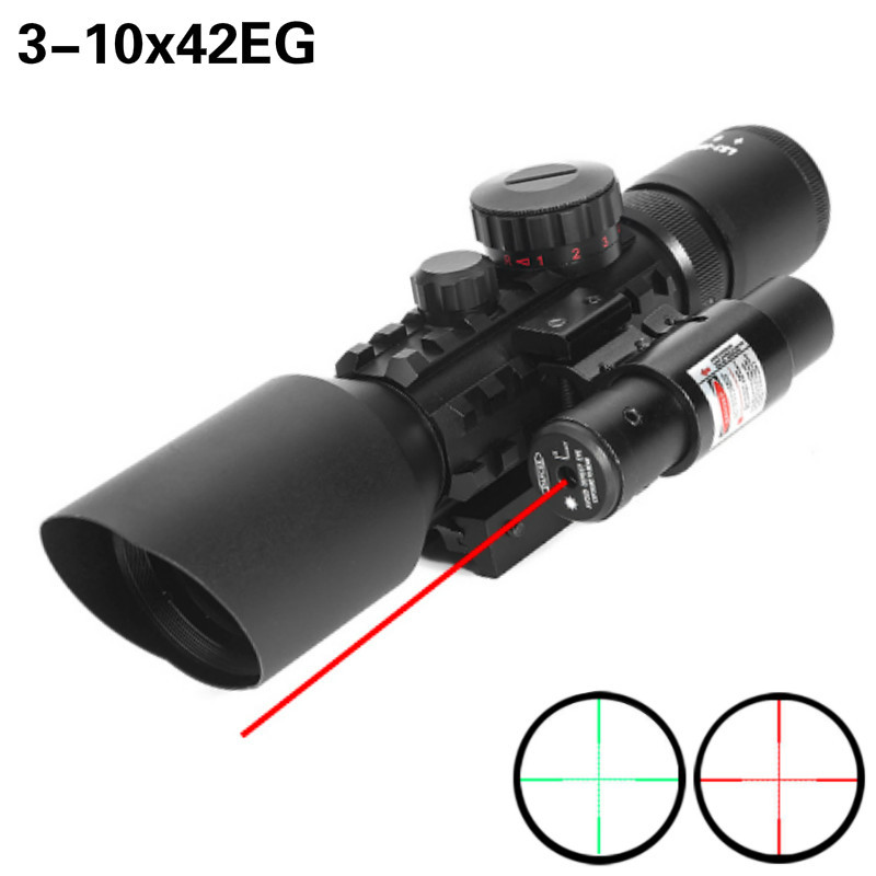 3-10x42EG Hunting Scope Tactical Optics Reflex Sight Riflescope  Reticle Red Green Dot Combo Hunting Scope