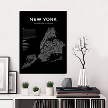 New York Map Poster Black and White World City Posters Prints Nordic Wall Art Canvas Painting