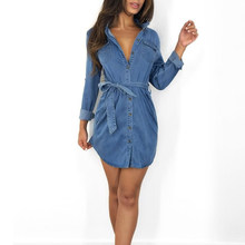 Femmes Denim robe poches Cowboy robe femmes robe 2019 été style lâche taille haute bandage chemise robe jean grande taille(China)