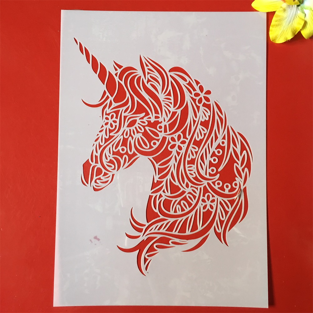 1Pcs A4 29cm Unicorn DIY Layering Stencils Wall Painting Scrapbook Coloring Embossing Album Decorative Paper Card Template