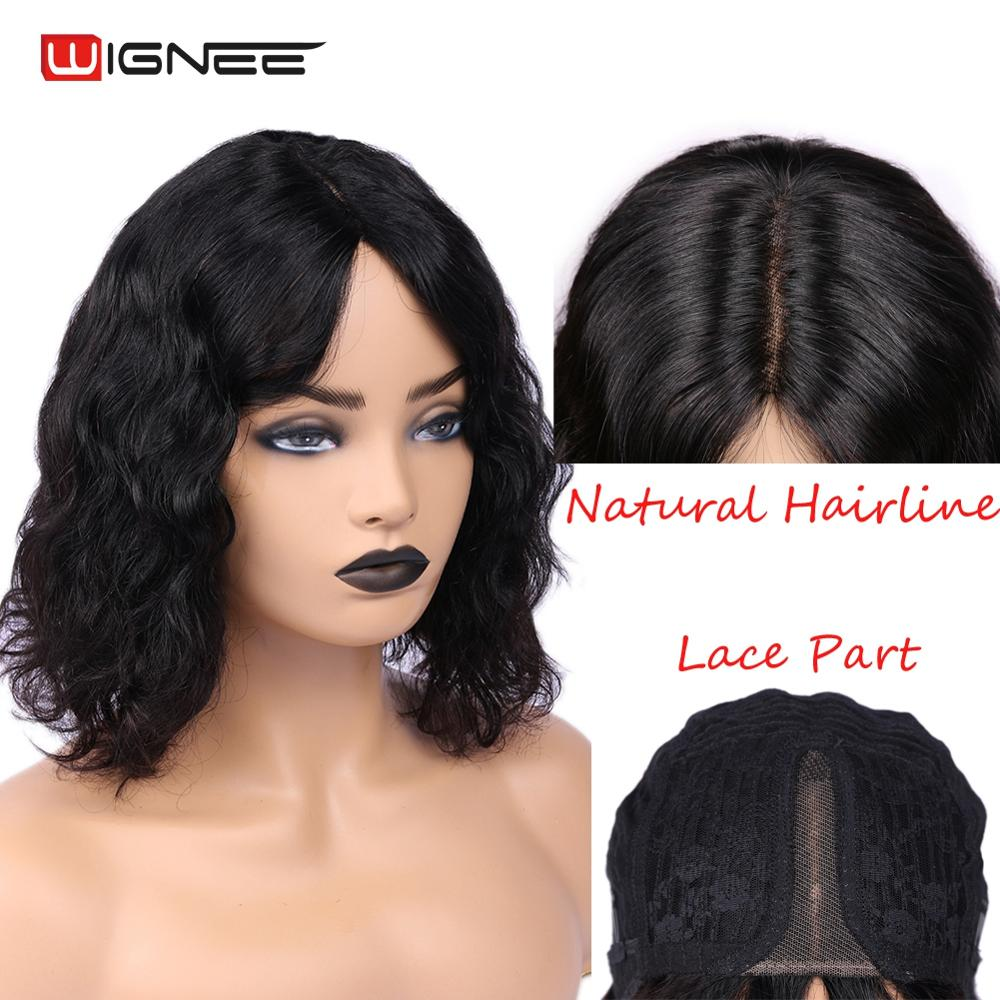 Wignee Natural Wave Women Human Hair Wigs Brazilian Remy Hair Natural Black Wig #1B Glueless Short Curly Human Wigs For African