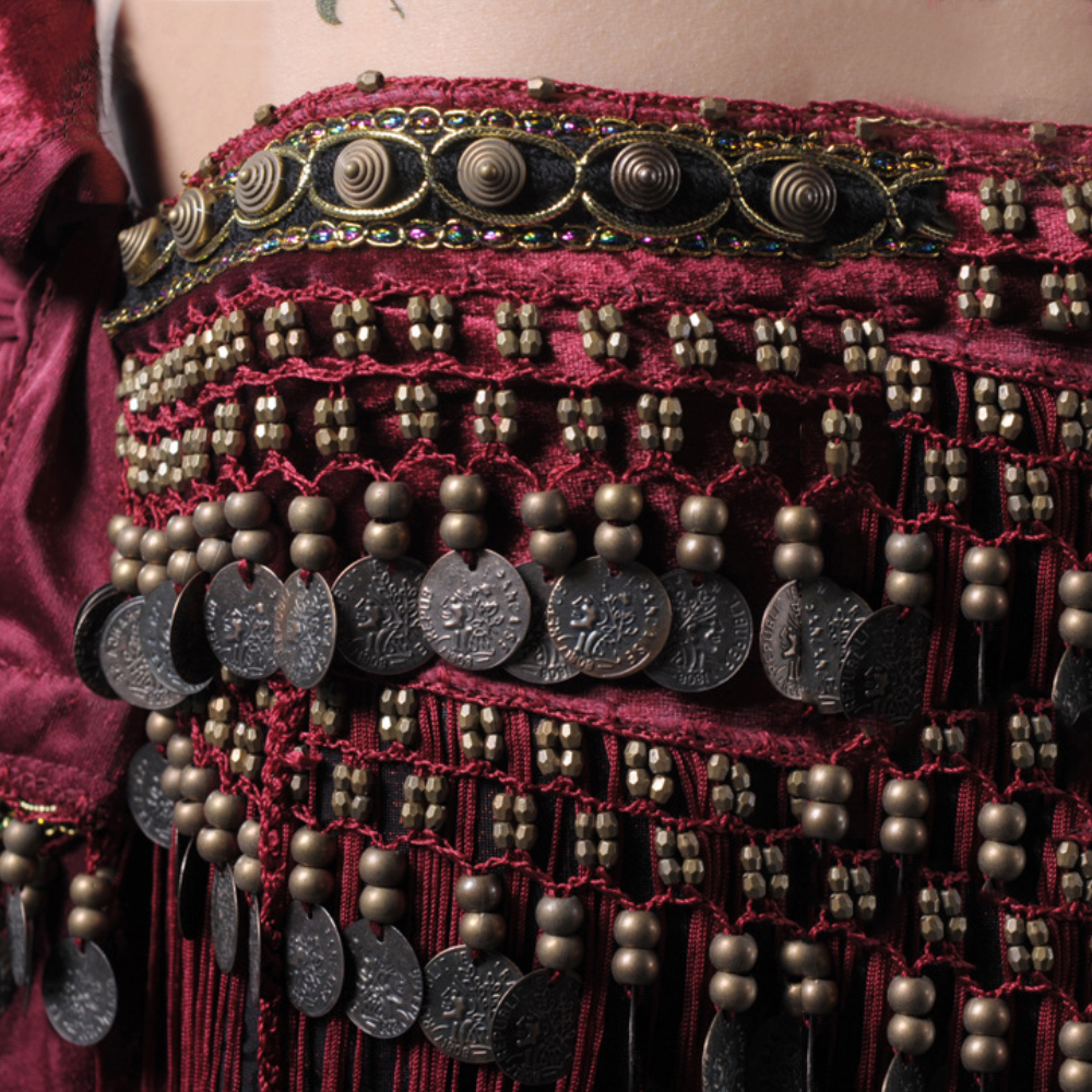 Image 5 - Women Belly Dance Belt Sexy Tassel Hip Scarf Tribal Copper Coin Dancing Costume Cloths Fringe Waist Chain BellyDance Accessories-in Belly Dancing from Novelty & Special Use