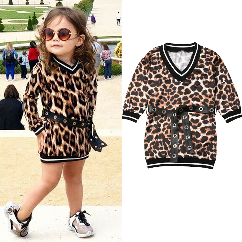 Leopard Printed Dress Baby Girl Clothes 1-6 Years Kids Child Toddler Autumn Long Sleeve Belt Party Straight Dresses