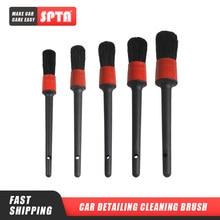 Spta carro detalhando escova de limpeza natural javali escovas de cabelo detalhe automático ferramentas 5pcs rodas painel do carro-acessórios de estilo