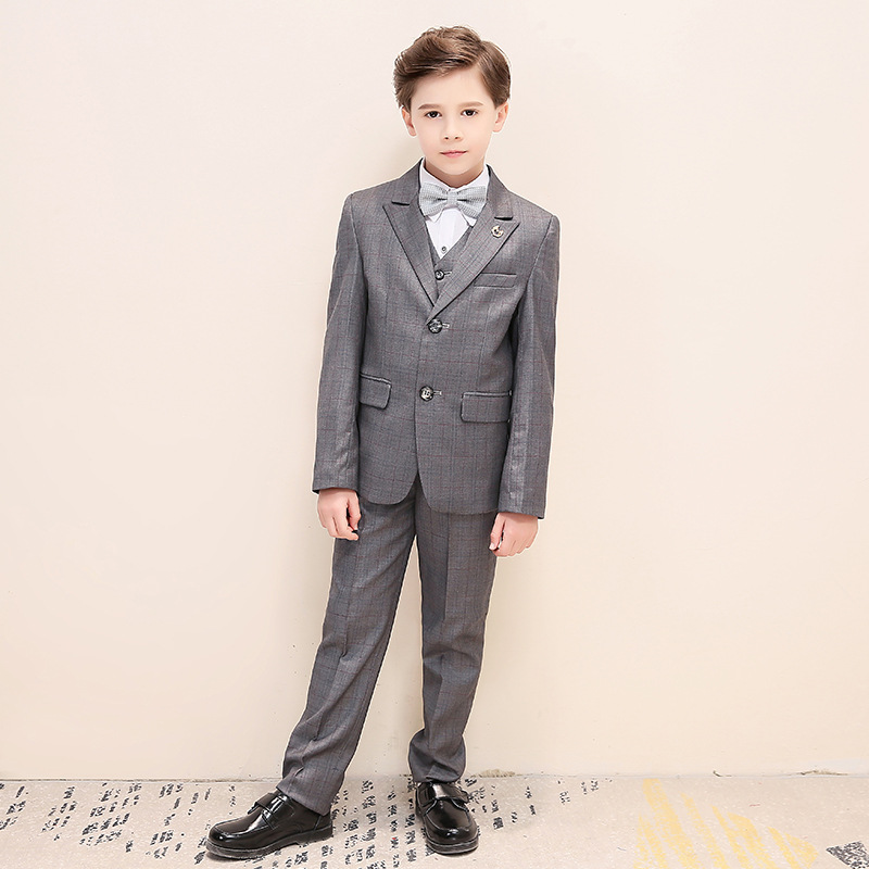 3pc Baby Boy Toddler Kid Teen Formal Suit White Shirt Black Pants Necktie S-20