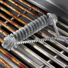 Non-stick Barbecue Grill BBQ Brush Stainless Steel Wire Bristles Cleaning Brushes With Handle Durable BBQ Tools churrasqueira ED(China)