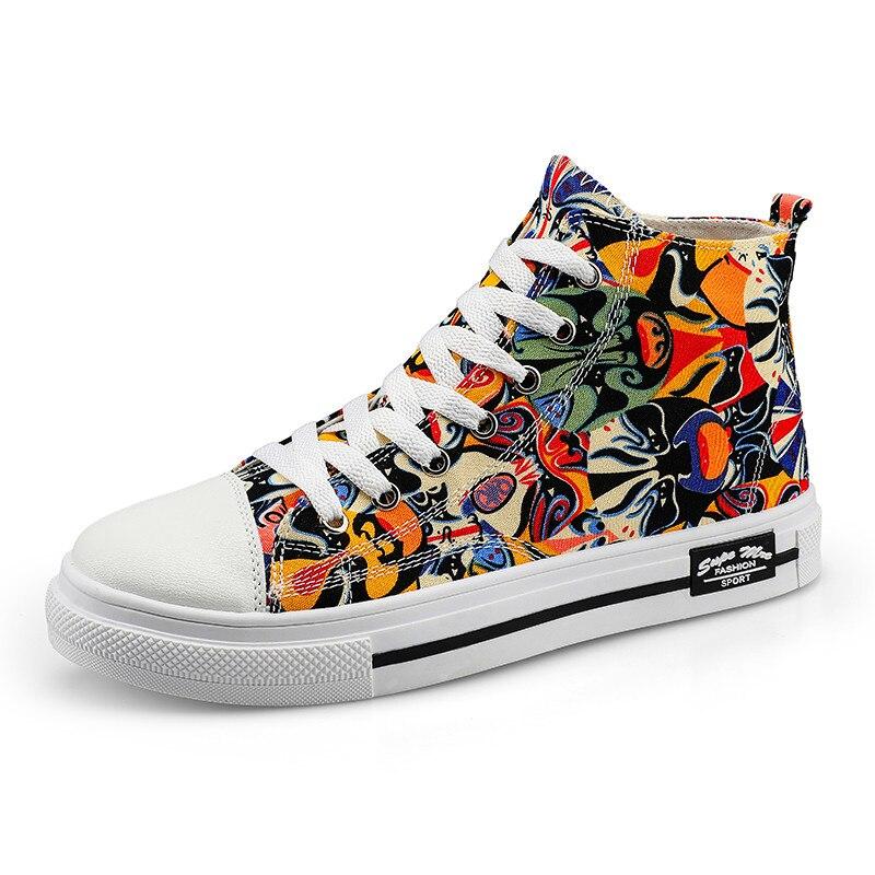 Men Women High-top Canvas Flats Shoes Couples Fashion Graffiti Shoes Lightweight Comfortable Walking Shoes Casual Sneakers