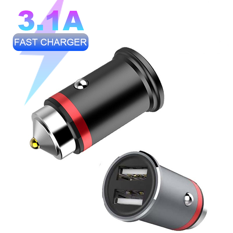 5V 3.1A Metal Dual <font><b>USB</b></font> Car <font><b>Charger</b></font> Quick Charge 4.0 For iPhone X 8 XS MAX Huawei Xiaomi <font><b>QC3.0</b></font> Fast Charging <font><b>USB</b></font> Car <font><b>Charger</b></font> image