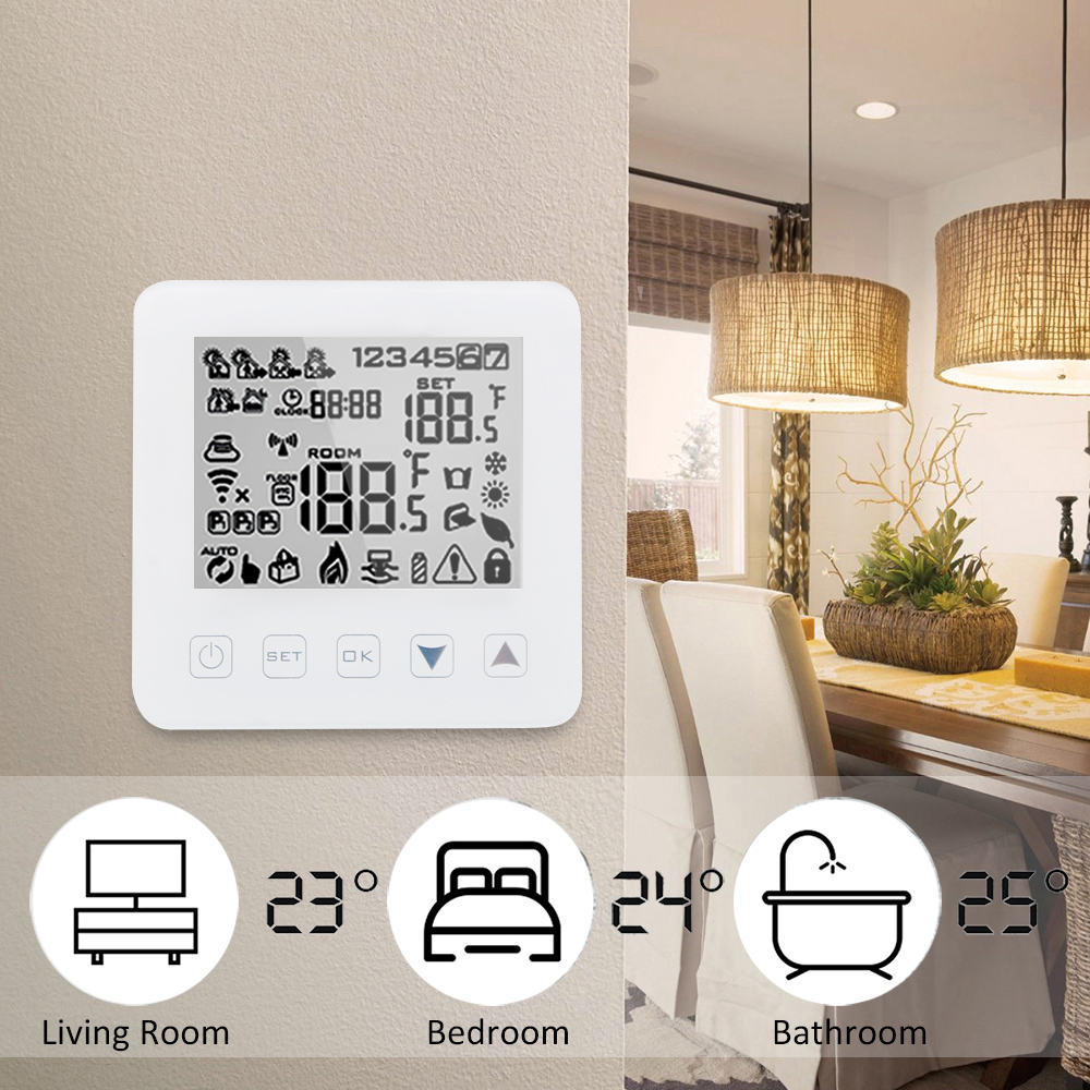 Water Heating Temperature Controller Thermostat Work With Amazon Echo Alexa Voice Control WiFi Thermostat Touch Screen