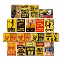 Danger Zombies Zone Retro señal placa de Metal Vintage Bar Pub pared placas decorativas cartel divertido decoración del hogar 20x30 CM