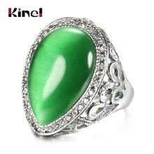 Kinel, gota de agua femenina, Ópalo verde, grandes anillos de plata antigua, Color Vintage, joyería para boda, fiesta, anillo, WK-2000