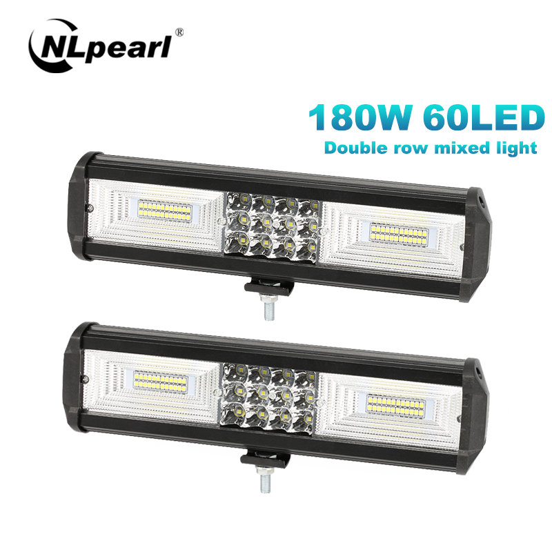 NLpearl Light Bar/Work Light 5/12 inch 72W 180W LED Work Light Bar Offroad Spot Flood LED Bar For Truck 4WD Tractor Boat Trailer
