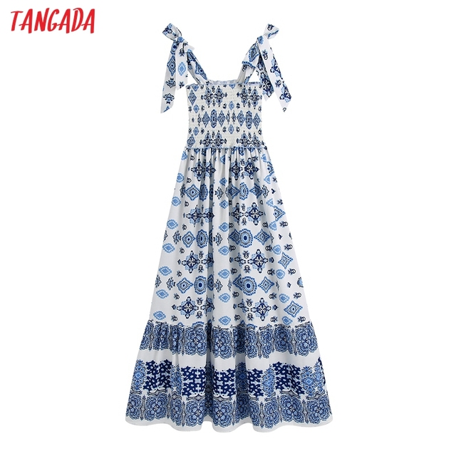 Tangada Boho Style Fashion Flowers Print Strap Dresses for Women 2021 Female Casual Long Dress BE136 1