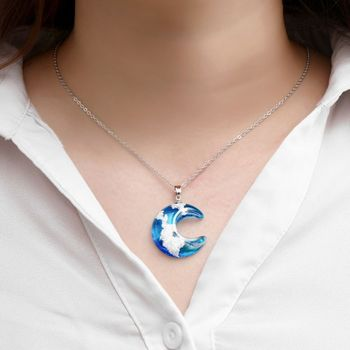 New Pendant Necklace Cloudy Sky Printed Ball / Moon Pattern Short Transparent Resin Neck Decoration Handmade Jewelry Unisex image