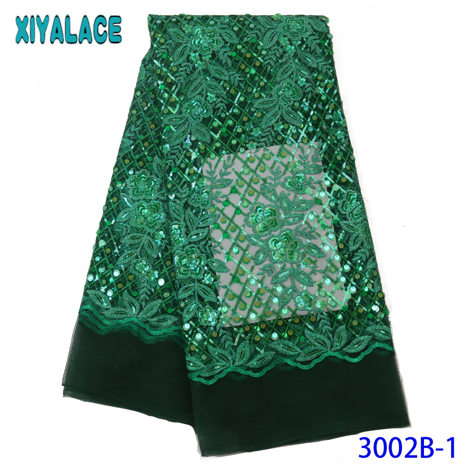 Latest  African Laces 2019 French Lace Fabric High Quality Nigerian Net Mesh Laces With Sequins For Wedding Party KS3002B
