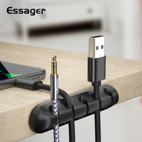 Essager Cable Organizer USB Cable Wire Holder Mouse Headphone Earphone Charger Cord Protector Desk Winder Clip Cable for IPhone|Cable Winder| |  -