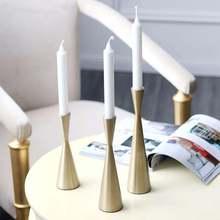 1 pçs retro metal castiçal castiçal ouro clássico artesanato castiçais festa de casamento jantar decoração da sua casa centro de mesa