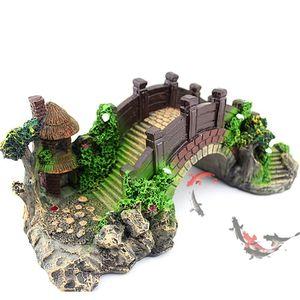 Image 1 - Aquário tanque de peixes do vintage ponte decorativa paisagem ornamentos pavilhão árvore plantas resina design suprimentos para animais de estimação decorações para casa