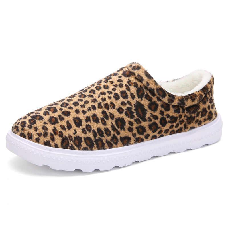 2019 Winter Mode Ongedwongen Warme Luipaard Slip op Schoenen voor Vrouwen Plus Size Schoenen Vrouw Zwart Flats Vrouwelijke Schoenen Dames fluwelen