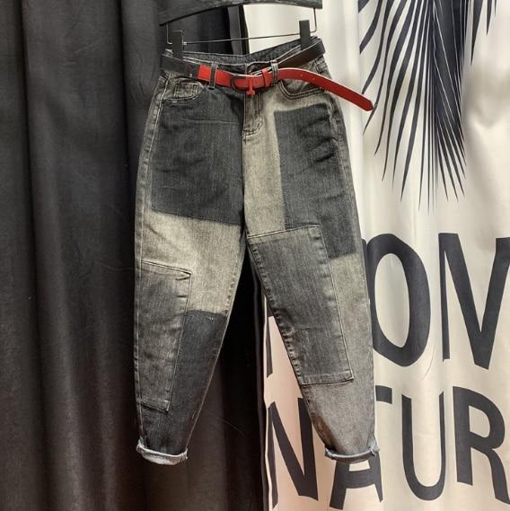 European Style Plus Size High-Waist Jeans Woman Color Panel Jeans 2020 Spring New Loose Denim Harem Pants Women Jeans Mom Jeans