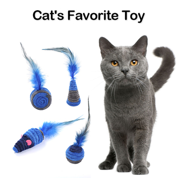 Shuttlecock self-hey interactive pet toy, home anti-depression plush rope winding cat lifting ball Plush Mouse Toy Pet Kitten image