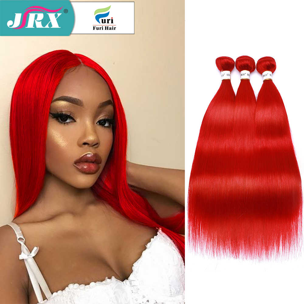 JRX Hair Brazilian Red Bundles Human Hair Straight Non-Remy Hair Weaves Full Red Color Hair Extension 1/3/4 Bundles Deal