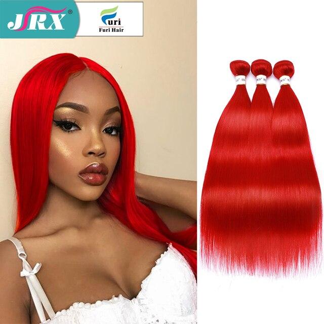 Tissage naturel brésilien Non Remy rouge JRX Hair, mèches de cheveux lisses, pleine couleur de cheveux, Extension de cheveux, offre en lots de 1/3/4