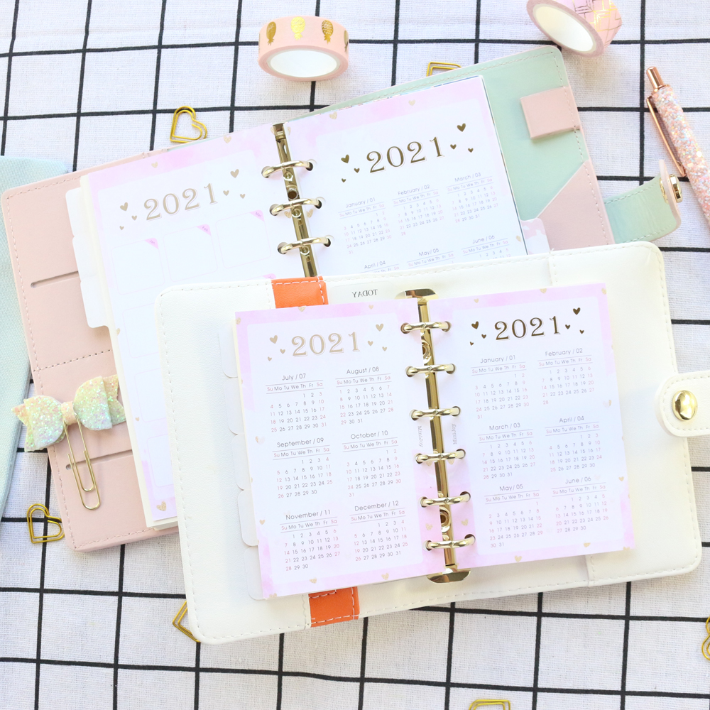 Domikee Cute candy 2021 year calendar divider for 6 rings binder agenda planner spiral notebooks accessoires stationery A5A6A7