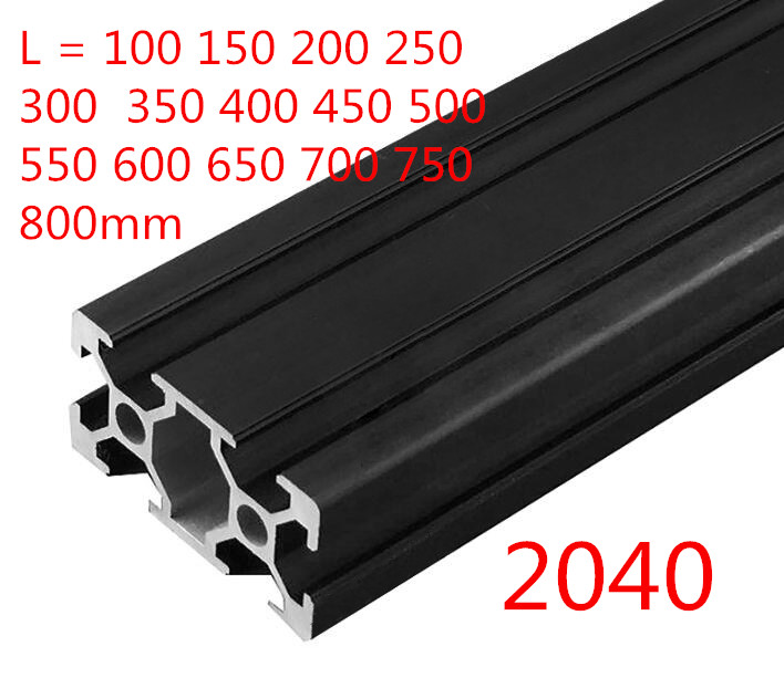1PC BLACK <font><b>2040</b></font> European Standard Anodized Aluminum Profile <font><b>Extrusion</b></font> 100-800mm Length Linear Rail for CNC 3D Printer image