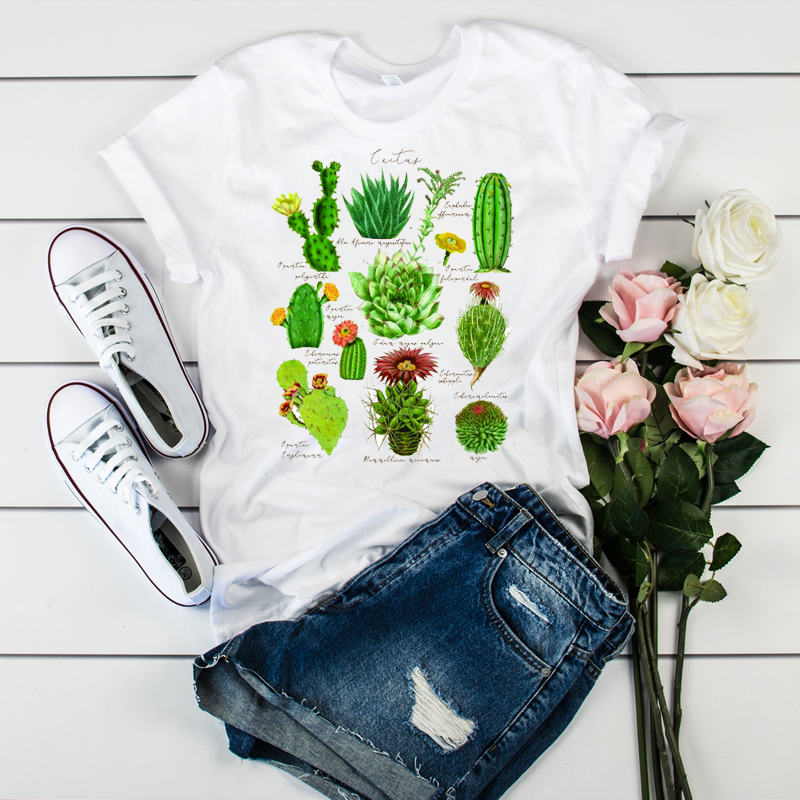 Women Graphic T-shirt Female Print Lots Of Cactus Letters Ladies Casual Camisas Mujer Womens Tumblr  Korean T Tee T-shirt