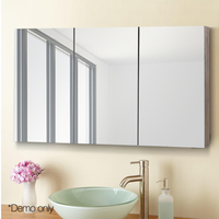 Cefito Modern Bathroom Vanity Mirror With Storage Cabinet Natural Storage Cupboard Wall Mounted Shelf Unit Three Doors AU