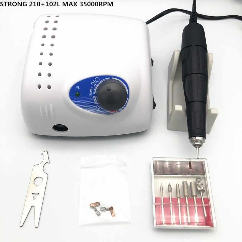 New Arrival STRONG 210 65W 45000rpm 105L/35K rpm 102L rękojeść 2.35mm wiertła do paznokci maszyna do Manicure Pedicure elektryczne pilniki