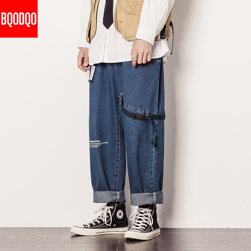 Streetwear Baggy Jeans Denim Hip Hop Men Blue Black Autumn Stranger Straight Pant Male Winter Fashion Brand Loose Harem Pants