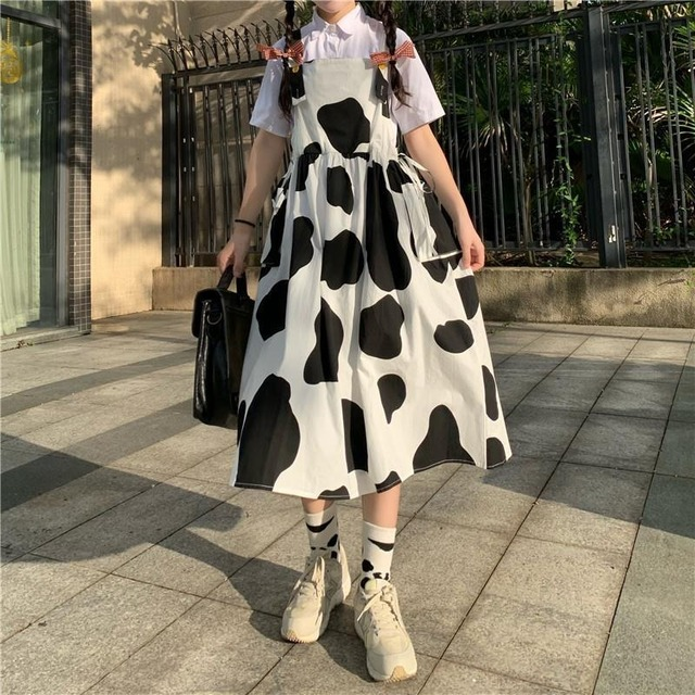 QWEEK Women's Kawaii Cow Print Dress Lolita Milk Cute Sundress Japanese Harajuku Style Cute Kawaii Lolita Dress Outfit Mori Girl 6