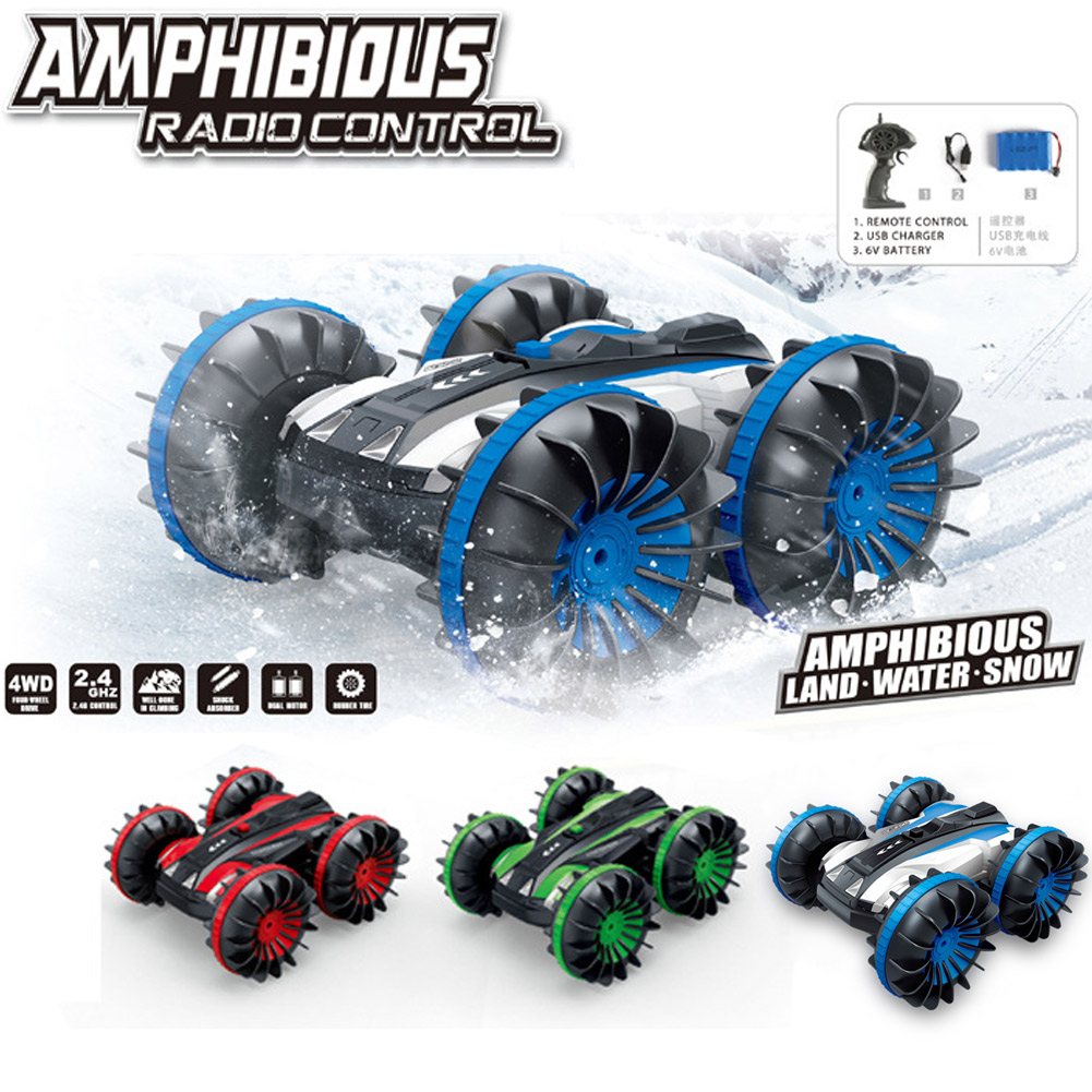 Waterproof 2.4Ghz 4WD Stunt RC Car 6CH Remote Control Race Cars Spins Flips Water Land Car Toys AN88