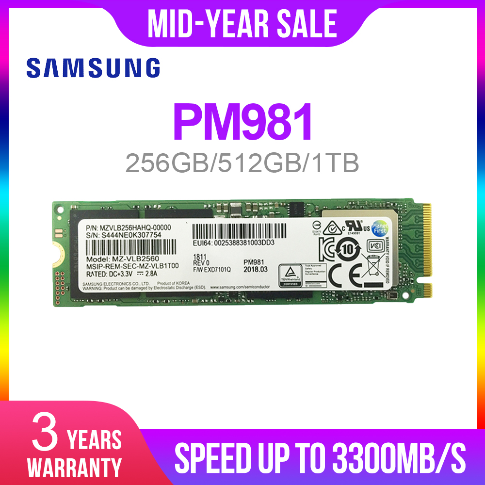 SAMSUNG SSD M.2 PM981 256GB 512GB 1 NVMe M2 TB Disco Rígido de Estado Sólido SSD PCIe 3.0x4 NVMe Laptop Interno disco duro TLC PM 981