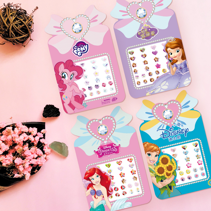 Disney Frozen New Girls Children Stereo Stud Earrings Gem Stickers Acrylic Drill Stickers Frozen Princess Children Toy Stickers