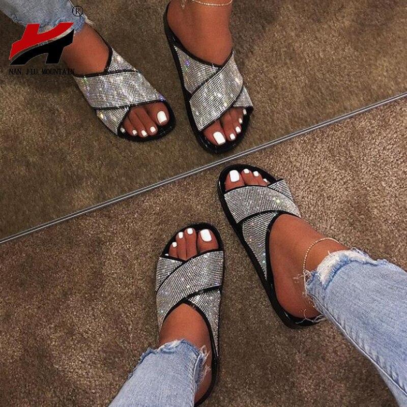 NAN JIU MOUNTAIN 2019 Flat Diamond Slippers Summer Women's Sandals Outdoor  Slippers Rhinestones Black Gold Plus Size-Leather bag