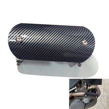 Carbon Fiber Oppervlak Universele Motorfiets Uitlaat Pijp Been Protector Hitteschild Cover Guard Rvs(China)