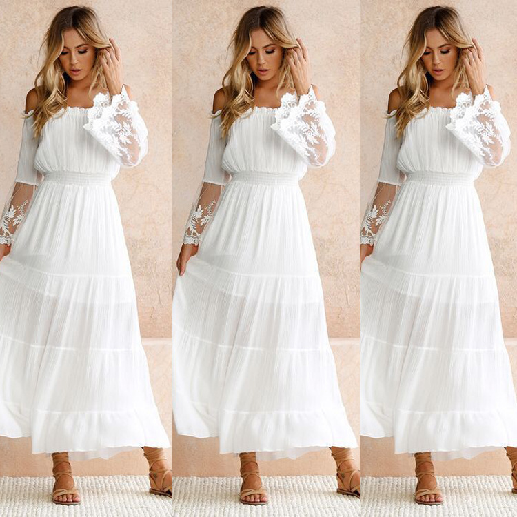 BacklakeGirls Sexy Boat Neck Off Shoulder White Lace Evening Dress Ankle-length Beach Dress Vestido Fiesta Largo Plus Size
