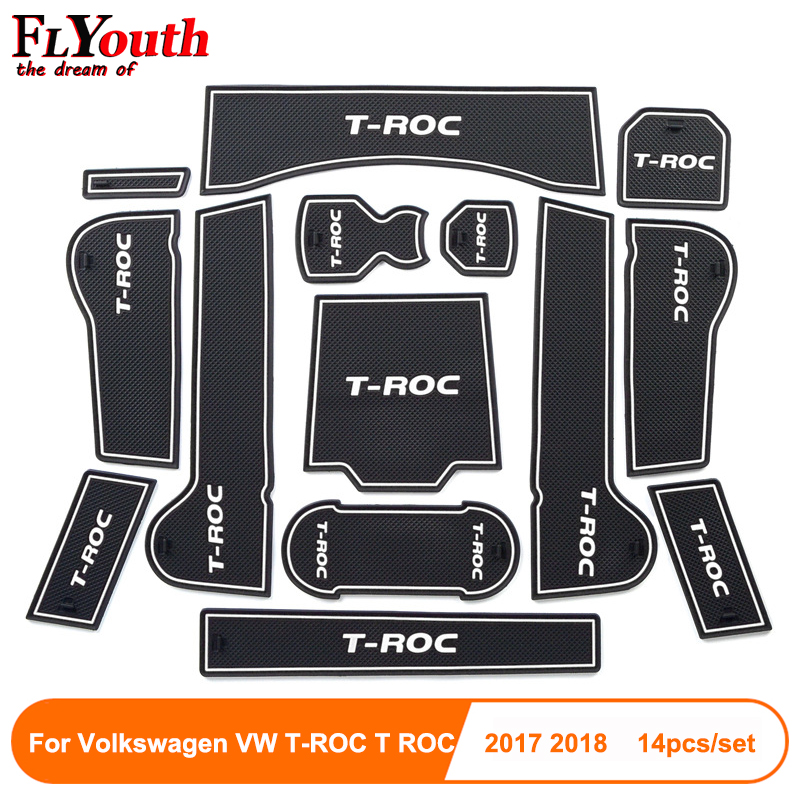 For Volkswagen T-ROC T ROC TROC 2017 2018 Car Gate Slot Pad Non-slip Cup Mat Anti Slip Door Groove Mat Interior Car Accessory