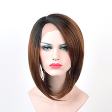 Alizing Lace Front Wig Ombre Black Brown BOB Wig, L Part lace frontal Short BoBo Dyeing Gradient Synthetic Hair k020