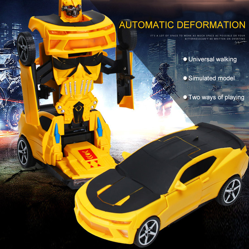 Plastic Universal Electric Deformation Toy Car Light Music Variant Diamond Robot Automatic Induction Gift For Children
